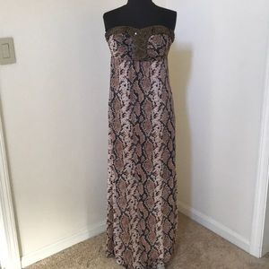 🦚 2b Bebe XS Brown Combo strapless maxi dress